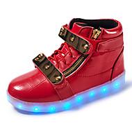 Jungen Sneaker Komfort Leuchtende LED-Schuhe Leder Frühling Sommer Herbst Winter Sportlich Normal Walking Klett LED Niedriger AbsatzWeiß
