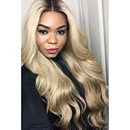 Női Emberi hajból készült parókák Brazil Emberi haj Csipke eleje Tüll homlokrész 130% Sűrűség Hullámos Természetes hullám Paróka Fekete /