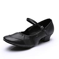 Kadın Dans Sneakerları Suni Deri Tam Taban Egzersiz Düşük Topuk Siyah Fuşya Kırmzı 2,5 cm Altı