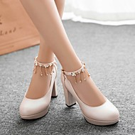 Women's Shoes PU Spring Comfort Heels Chunky Heel Round Toe With For Casual White Black Beige