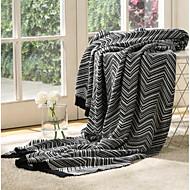 Tricotado Riscas Algodão / Poliéster cobertores