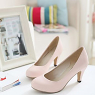 Women's Shoes PU Spring Comfort Heels Stiletto Heel Round Toe With For Casual Beige Blushing Pink