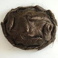 Κομψό μαλλί παπιγιόν ανδρών μαλλιών ανθρώπινη μαλλιά συστήματα αντικατάστασης λεπτό μονό κυματιστό toupee 8x10inch μέσο καφέ χρώμα