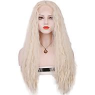 Mulher Perucas sintéticas Frente de Malha Longo Ondas Soltas Prateado Parte média costurar 100% cabelo kanekalon Com Cabelo Baby Peruca