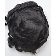 Τούπι ανδρικό μαλλιά 1b μαλλιά ελαφρύ σύστημα αντικατάστασης μαλλιών κύμα για τους άνδρες 7inch * 9inch μαλλιά toupee