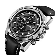 9156 skmeiメンズファッションスポーツミリタリーウォッチクロノグラフレザーメンズクオーツ腕時計防水relogio masculino