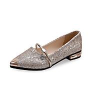 Damen Schuhe PU Frühling Sommer Komfort Loafers & Slip-Ons Blockabsatz Block Ferse Spitze Zehe Für Normal Kleid Weiß Schwarz Silber