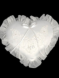 White Mini Heart Satin Wedding Ring Bearer Pillow