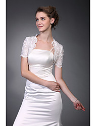 Short Sleeves  Tulle  Lace Bridal Jacket / Wedding Wrap (WSM0408)