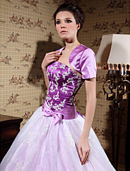 Short Sleeve Satin Bridal Jacket/ Wedding Wrap (WSM0540)