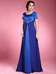 A-Line Scoop Neck Floor Length Chiffon Satin Mother of the Bride Dress with Beading by LAN TING BRIDE®
