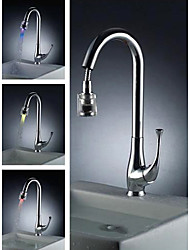 Solid Brass Pull Down Kitchen Faucet with Color Changing LED Light