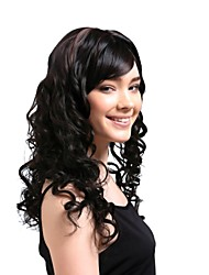 Capless Long High Quality Synthetic Natural Look Black With Auburn Curly Hair Wig