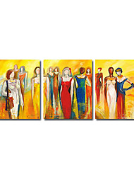 Hand-painted People Oil Painting  with Stretched Frame - Set of 3
