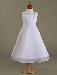 A-line / Princess Tea-length Flower Girl Dress - Chiffon / Satin Sleeveless Square with Ruffles / Side Draping / Ruching