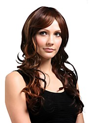 Capless Long High Quality Synthetic Natural Look Dark Brown With Golden Brown Hair Wig
