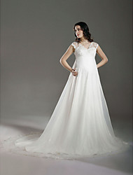 Lanting A-line/Princess Maternity Wedding Dress - Ivory Court Train V-neck Lace/Organza
