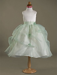Ball Gown Tea-length Flower Girl Dress - Organza Satin Jewel with Flower(s) Pick Up Skirt
