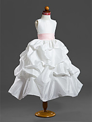 Ball Gown Tea-length Flower Girl Dress - Taffeta Scoop with Pick Up Skirt Ruffles Sash / Ribbon