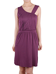 Pleated One-shoulder Camisole Neckline Women's Dresses (1801BD006-0736)