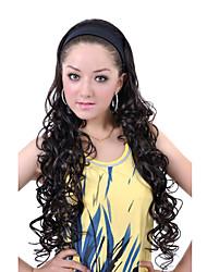 extra-longo preto encaracolado 3/4 headband perucas