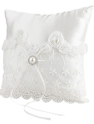 Lovely Pearl Decoration Smooth Satin Wedding Ring Pillow