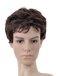 Capless Short Dark Brown Curly Hair Wig
