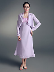 Lanting Bride® A-line Plus Size / Petite Mother of the Bride Dress - Wrap Included Tea-length Long Sleeve Chiffon / Stretch Satin with