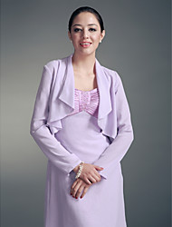Wedding  Wraps Coats/Jackets Long Sleeve Chiffon Lilac Party/Evening / Office & Career / Casual T-shirt Ruched Open Front