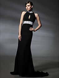 Formal Evening/Military Ball Dress - Black Plus Sizes Trumpet/Mermaid High Neck Court Train Chiffon