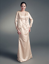 LAN TING BRIDE Sheath / Column Plus Size Petite Mother of the Bride Dress - Wrap Included Floor-length Long Sleeve Satin with Beading Lace