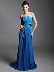 folga! bainha / coluna strapless varrer / escova treinar vestido de noite chiffon inspirado por Julia Louis-Dreyfus no Emmy
