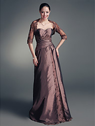 Lanting A-line Plus Sizes / Petite Mother of the Bride Dress - Brown Floor-length Half Sleeve Lace / Taffeta