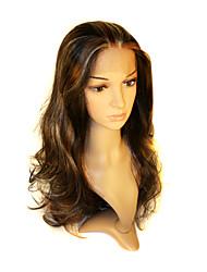 rendas frente longa e escura corpo marrom onda peruca sintético de alta qualidade sem bater