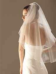 Wedding Veil Two-tier Elbow Veils / Veils for Short Hair Beaded Edge 33.46 in (85cm) Tulle White / Ivory / ChampagneA-line, Ball Gown,
