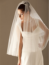 Wedding Veil Two-tier Elbow Veils / Veils for Short Hair Beaded Edge 11.81 in (30cm) Tulle White / Ivory / ChampagneA-line, Ball Gown,