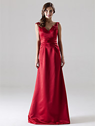 Bridesmaid Dress Floor Length Satin A Line V Neck Wedding Party Dress