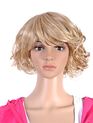 Capless Short Hight Quality Synthetic Light Blonde Curly Hair Wig