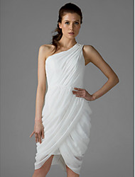 Knee-length Chiffon Bridesmaid Dress - White Plus Sizes / Petite Sheath/Column One Shoulder