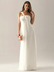 Floor-length Chiffon Bridesmaid Dress Sheath / Column One Shoulder Plus Size / Petite with Bow(s) / Ruching / Pleats
