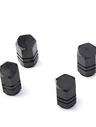 Luxury Tire Valves Caps/Stems Black for Car (4 Pieces Per Pack)
