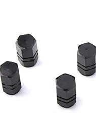 válvulas de los neumáticos de lujo tapas / tallos negros para el coche (4 piezas por paquete)
