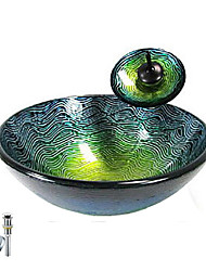 Victory Green Round Tempered glass Vessel Sink With Waterfall Faucet, Mounting Ring and Water Drain(0917-VT4035)