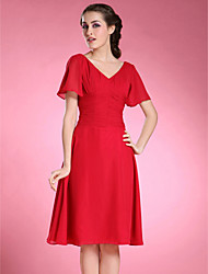 LAN TING BRIDE A-line Plus Size Petite Mother of the Bride Dress - Open Back Knee-length Short Sleeve Chiffon with Pleats