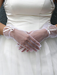 Wrist Length Fingertips Glove Satin Bridal Gloves