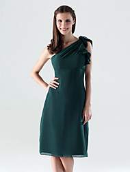 Lanting Knee-length Chiffon Bridesmaid Dress - Dark Green Plus Sizes / Petite Sheath/Column One Shoulder