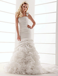 Lanting Fit & Flare Plus Sizes Wedding Dress - Ivory Court Train One Shoulder Taffeta
