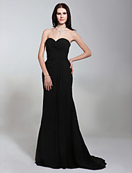 Formal Evening/Military Ball Dress - Black Plus Sizes Trumpet/Mermaid Strapless/Sweetheart Sweep/Brush Train Chiffon