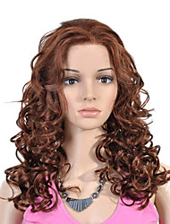 Lace Front Long Top Grade Quality Synthetic Brown Curly Hair Wig