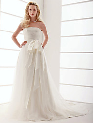Lanting A-line/Princess Plus Sizes Wedding Dress - Ivory Sweep/Brush Train Strapless Tulle